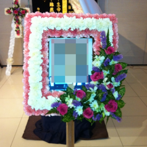 BCF-3-carnation-flower-christian-_-catholic-$350-photwreath-,-Crosswreath-_-small--table-arrangement